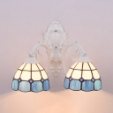 Dome Wall Light 2 Lights Mediterranean Style Stained Glass Sconce Light for Hotel Restaurant