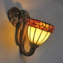 Dome Restaurant Sconce Lamp Stained Glass One Light Tiffany Style Wall Light with Elephant