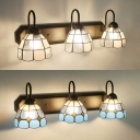 Tiffany Style Dome Wall Light 3 Lights Blue/Clear Glass Sconce Light for Bathroom Bedroom