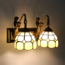 2 Lights Dome Wall Light with Mermaid Tiffany Style Glass Sconce Light in Beige for Bedroom