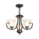 Frosted Glass Flower Chandelier Bedroom 3/6/8 Lights Traditional Pendant Lighting in Black