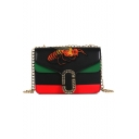 Trendy Color Block Stripe Pattern Embroidery Bee Patched Crossbody Shoulder Bag 21.5*8.5*13.5 CM