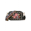 New Trendy Floral Embroidery Geometric Print Strap Pearl Embellishment Crossbody Shoulder Bag 18*6*11 CM