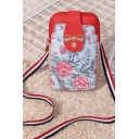 Popular Floral Printed Bow Embellishment Striped Strap Light Blue and Pink Crossbody Phone Purse 10.5*2.5*18.5 CM