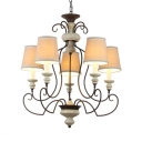 White Tapered Shade Hanging Light Metal and Fabric 3/4/5 Lights Classic Chandelier Light for Hotel