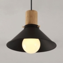 Industrial Cone/Flared Pendant Lighting Single Light Black Pendant Lamp for Kitchen