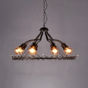 8 Lights Ring Chandelier Lighting Living Room Vintage Metal Chandelier Lamp in Rust