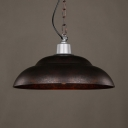 Double Bubble Restaurant Pendant Lighting Metal Single Light Industrial Hanging Light in Rust