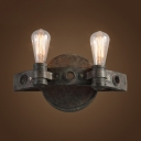 Living Room Open Bulb Sconce Light 2 Lights Metal Antique Rust Wall Light Fixture