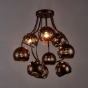 Dining Room Globe Semi Flush Light Metal Antique Bronze Semi Flush Mount Lighting