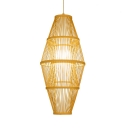 Rattan Ceiling Fixture with Shade Single Light Vintage Style Pendant Lighting in Beige for Bedroom