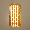 Antique Style Cylinder Ceiling Light Single Light Bamboo Pendant Lighting in Beige for Foyer