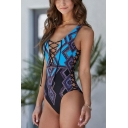 Trendy Ethnic Style Geometric Printed Lace-Up Blue One Piece Swimsuit for Women