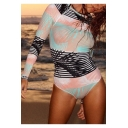 Womens Hot Popular Fashion Tropical Printed Long Sleeve Surf Rash Guard One Piece Swimsuit