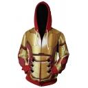 Fashion Cosplay Costume Zip Up Long Sleeve Gold Drawstring Hoodie