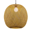 Oval LED Ceiling Light Single Light Bamboo Rustic Pendant Lighting for Living Room Hallway