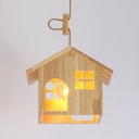 Country Style House Shape Hanging Fixture One Light Wood Pendant Lighting in Beige