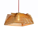 Cottage Style Trapezoid Pendant Lighting Wood One Light Beige Ceiling Light Fixture for Foyer
