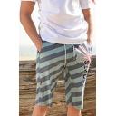 Mens Summer Fashion Letter SPORTS Stripe Printed Cotton Loose Beach Swim Trunks