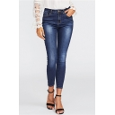 Hot Fashion Beading Embellished Side Womens Slim Fit Dark Blue Jeans