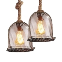 Swirl Glass Bell Ceiling Light Single Bulb Industrial Hanging Light with Hanging Rope and Metal Mesh