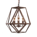 Brown Metal Cage Hanging Ceiling Light with Candle and Hanging Chain 3 Lights Rustic Pendant Light