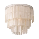 White Round Flush Mount Ceiling Light 1/3 Lights Vintage Style Wood Ceiling Light Fixture for Bedroom