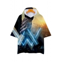 New Trendy Unique Double Letter W Print Hooded Short Sleeve T-Shirt