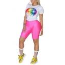 Cool Street Fashion Colorful Lip Print Basic Short Sleeve T-Shirt