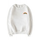 Cute Cloud Rainbow Printed Round Neck Long Sleeve Pullover Sweatshirt