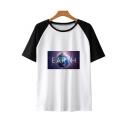 New Fashion Colorblock Short Sleeve Galaxy Earth Print Unisex T-Shirt