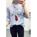Fashion Stripe Cartoon Cat Embroidery Long Sleeve Button Down Shirt for Women