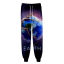 Stylish Purple Galaxy Earth Print Drawstring Waist Cotton Unisex Jogger Pants Sweatpants