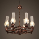 Metal Kerosene Hanging Light 6 Lights Vintage Style Chandelier Light in Rust for Coffee Shop Restaurant