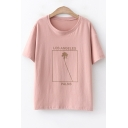 Summer Simple Letter LOS ANGELES Short Sleeve Cotton Casual T-Shirt