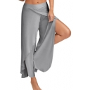 Womens New Trendy Solid Color Fashion Split Front Sport Yoga Pants Wide Leg Palazzo Pants