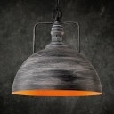 Single Light Domed Shape Hanging Lamp Vintage Style Metal Pendant Light for Kitchen Dining Room