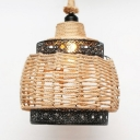 Rope Basket Shape Ceiling Pendant Single Light Antique Style Hanging Light in Beige for Indoor