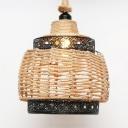Rope Basket Shape Ceiling Pendant Single Light Antique Style Hanging Light in Beige for Indoor