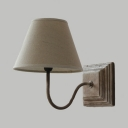 Tapered Shade Coffee Shop Wall Light Fabric and Metal Single Light Traditional Wall Sconce in White