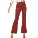 Women's Trendy Simple Plain Slim Fit Flared Pants for Office
