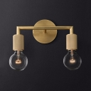 Dining Room Study Sconce Light with Open Bulb Metal 2 Lights Industrial Brass/Black/Chrome Sconce Light