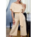 Women's Basic Simple Solid Color Short Sleeve Scoop Neck Tied Waist Wide Leg Jumpsuits