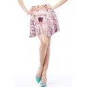 Vintage Map Printed High Waist Women's Mini A-Line Skater Skirt