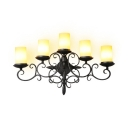 Antique Style Black Sconce Light Cylinder Candle Shape 5 Lights Metal Sconce Light for Bedroom Stair