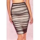 Women's Sexy Nightclub Black Mesh Panel Ruched Mini Tight Bodycon Skirt