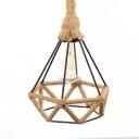 Diamond Shape Indoor Ceiling Light Metal and Rope Single Light Vintage Style Pendant Light in Beige