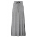 New Trendy Solid Color Tied Waist Split Side Maxi Slouch Pleated Skirt