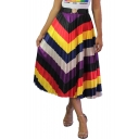 Trendy Rainbow Zigzag Stripe Printed Elastic Waist Maxi Pleated A-Line Skirt
