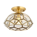 Antique Style Ceiling Mounted Light 1 Light Metal and Clear Glass Flush Ceiling Light in Brass for Living Room